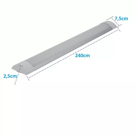 Lâmpada Led Tubular Linear com Calha 80w 240cm Slim Bivolt Leitosa