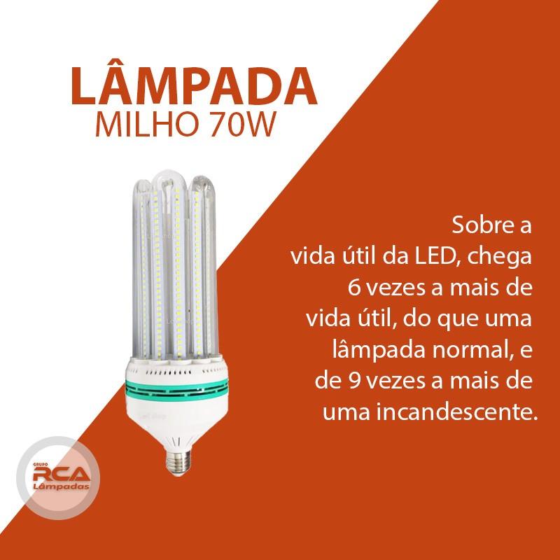 Lâmpadas E27 Led MILHO 6U 70W Branco Frio 6500k