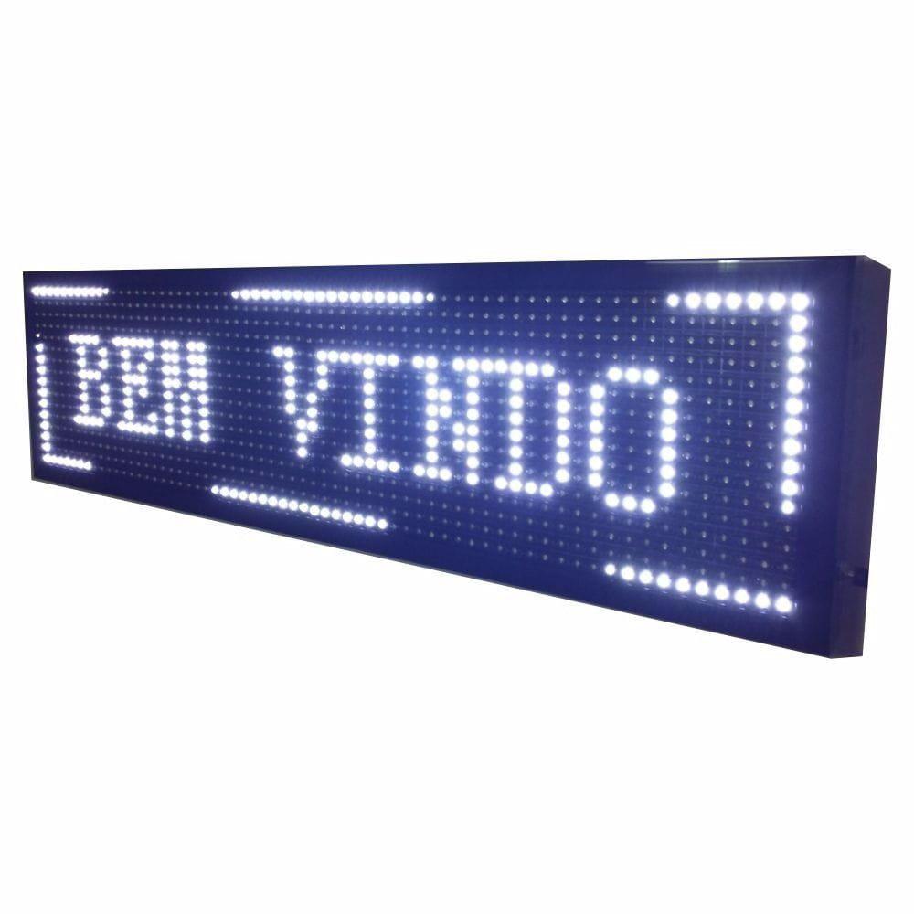 Letreiro Luminoso Painel Led indoor Digital 1m X 20cm Wifi branco