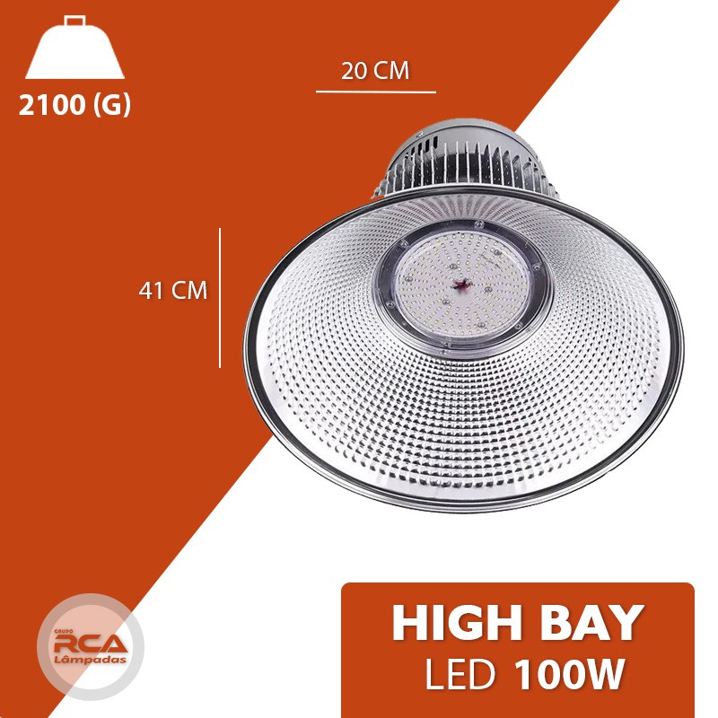 Luminaria Led (GOLD) Industrial High bay 100w Branco Frio 6500K