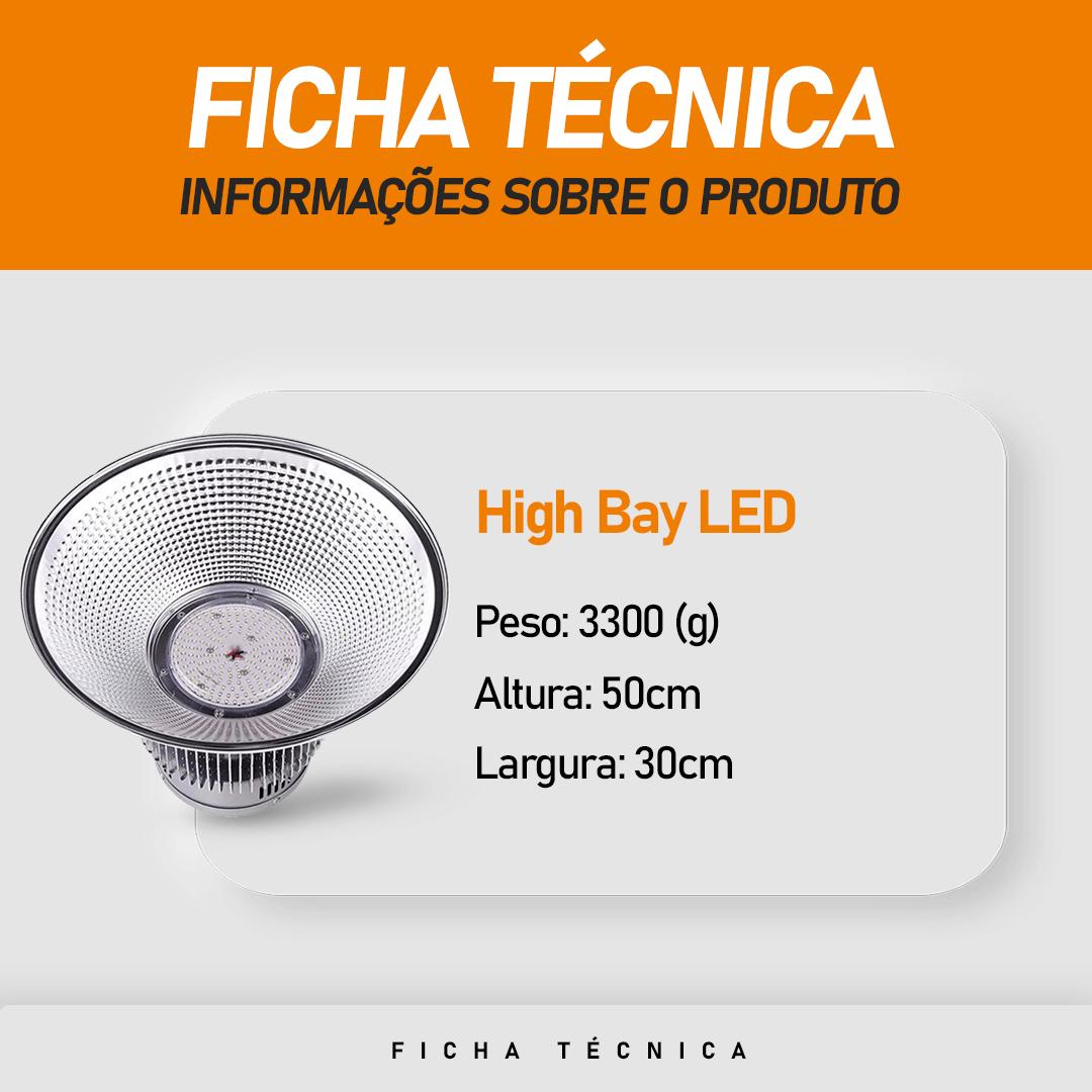 Luminaria Led (GOLD) Industrial High bay 100w Branco Frio 6500K