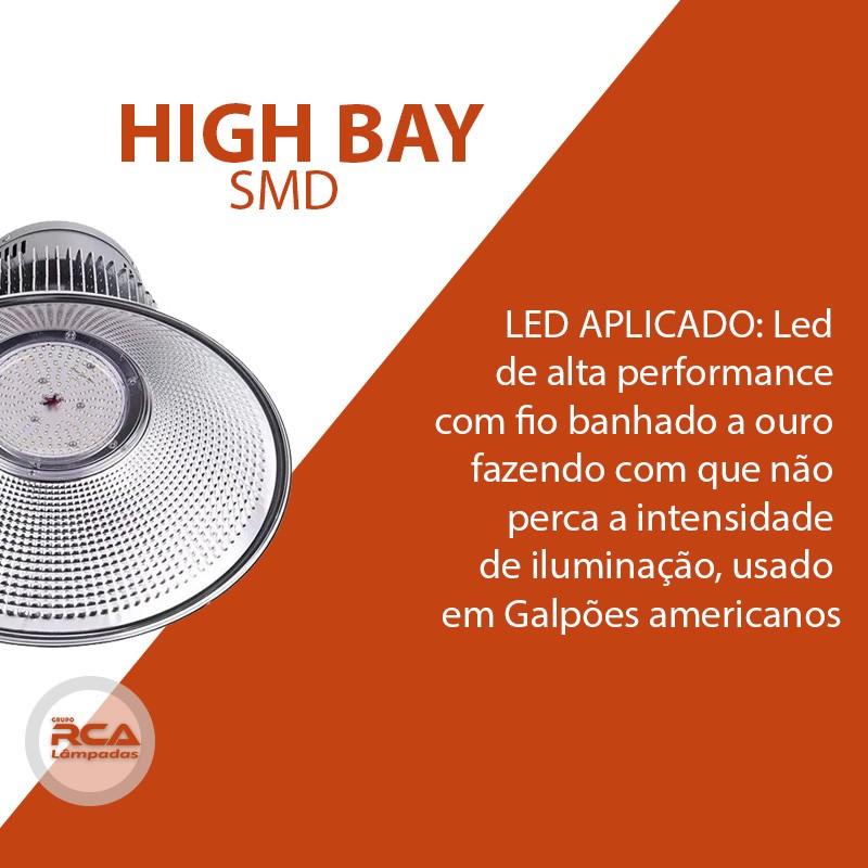Luminaria Led Industrial (GOLD) High bay SMD 200w Branco Frio 6500K