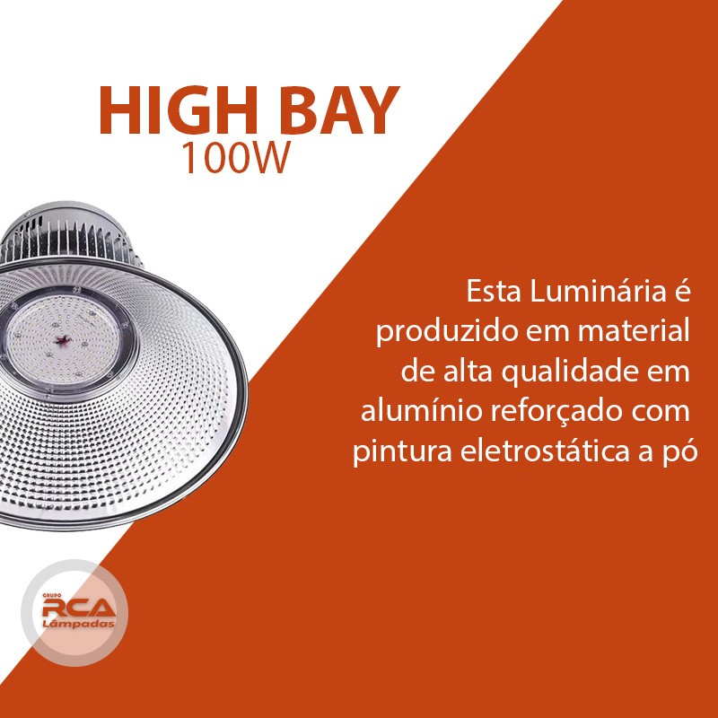 Luminaria Led Industrial High bay 100w Branco Frio 6500K