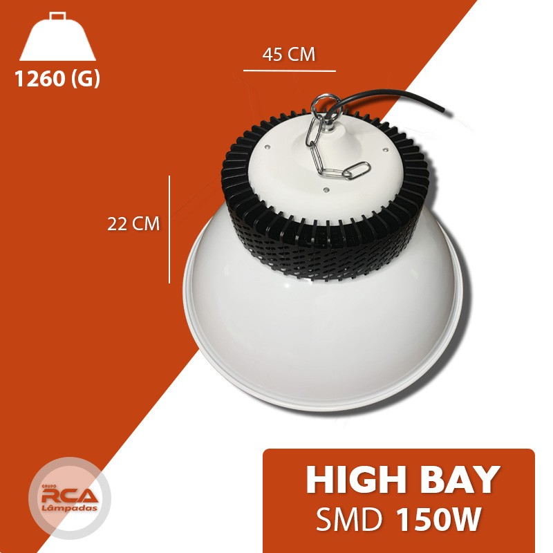 Luminária Led Industrial High bay 150w SMD Bivolt Branco Frio 6500K