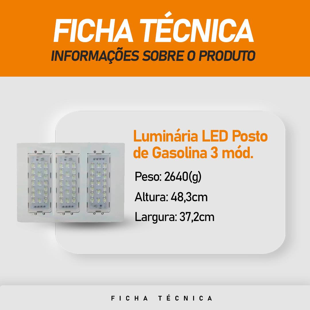 Luminária Led Postos De Gasolina/ Galpões 3 Módulos 150W