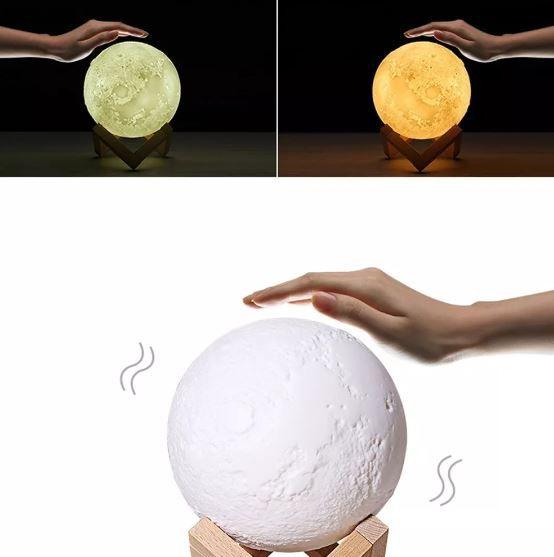 Luminária Lua Cheia 3d Rgb Touch Via Usb - Bateria Interna
