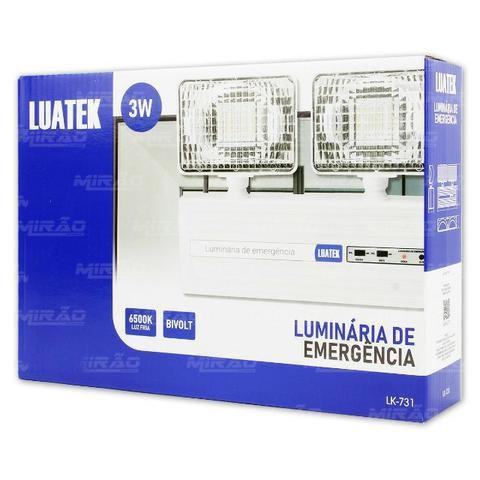 Luminária Luz de Emergência Led 3w Econômica com Bateria Bivolt - Luatek