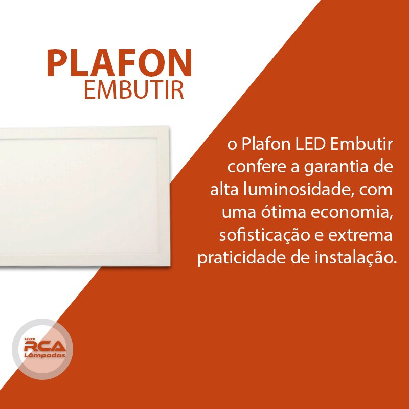 Luminária Plafon 30x120 48w LED Embutir Branco Frio Tecnologia Siemens