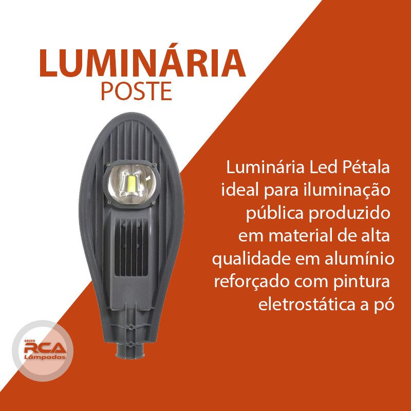 Luminária Pública de Led (GOLD) Branco Frio para Poste de Rua 50w IP68 (Chip Tecnológico)