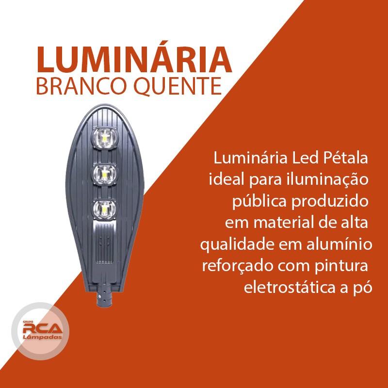 Luminária Pública de Led para Poste 300w Branco Quente - Preta (Chip Tecnológico)