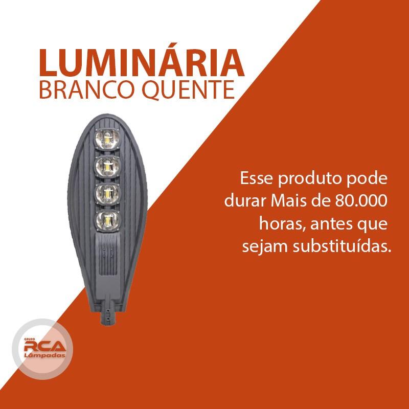 Luminária Pública de Led Para Poste 400w Branco Quente - Preta (Chip Tecnológico)
