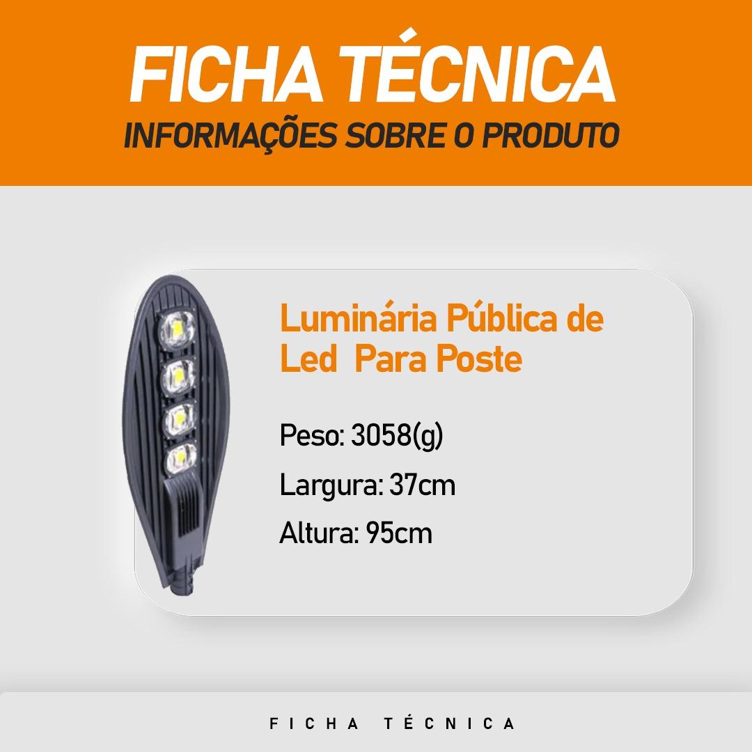 Luminária Pública de Led Para Poste de Rua 200W Branco Morno (Chip Tecnológico)