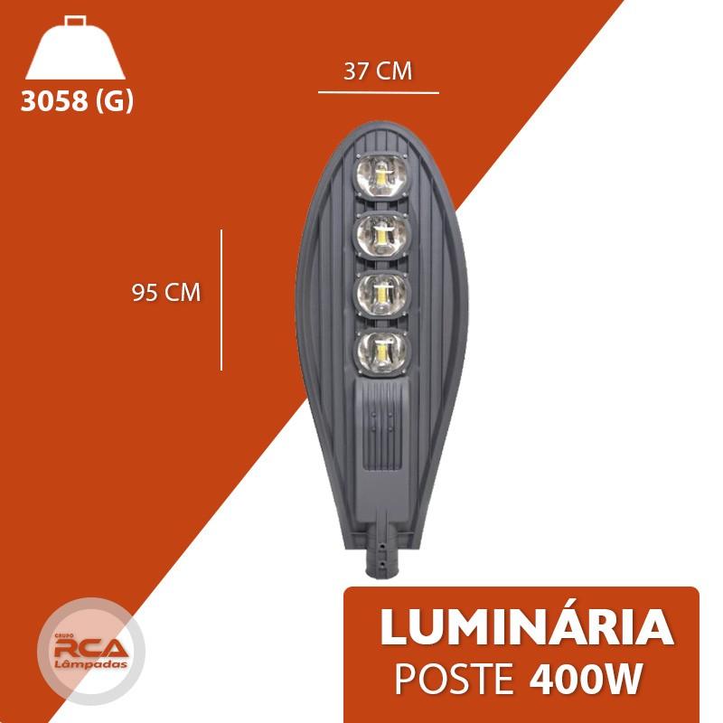 Luminária Pública (GOLD) de Led Para Poste 400w Branco Quente IP68 - Preta (Chip Tecnológico)