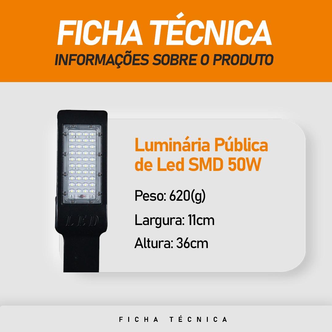 Luminária Pública LED SMD 50W Branco Frio IP67