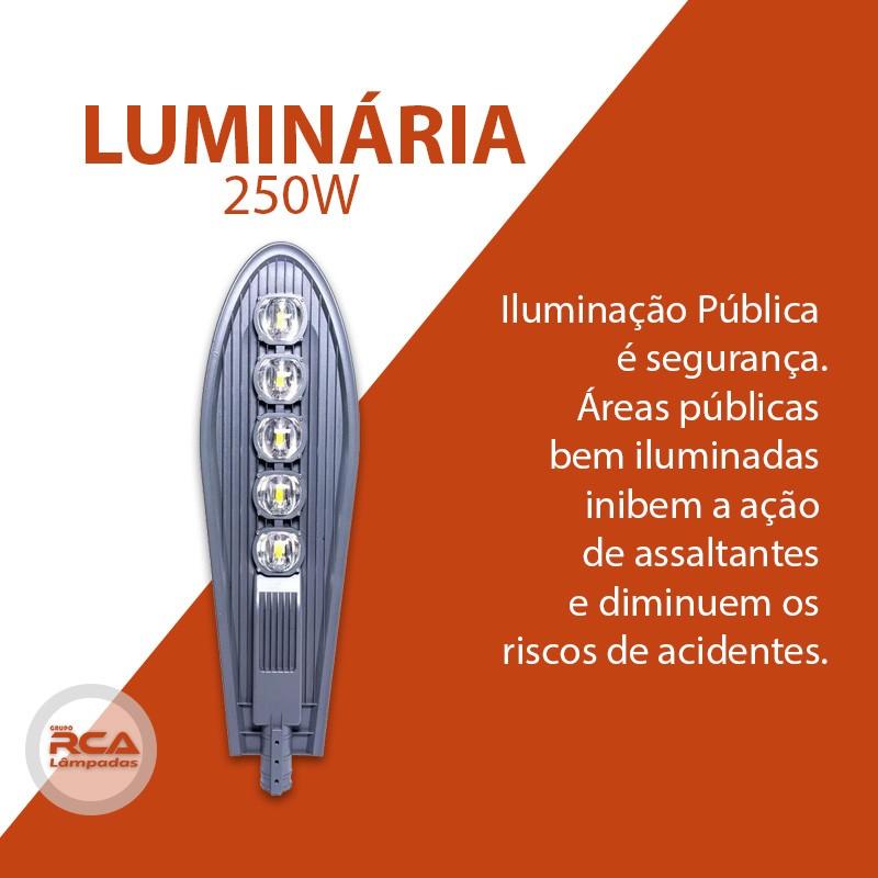 Luminária pública petala led 250w para poste de rua cob branco frio 6000k (Chip Tecnológico)