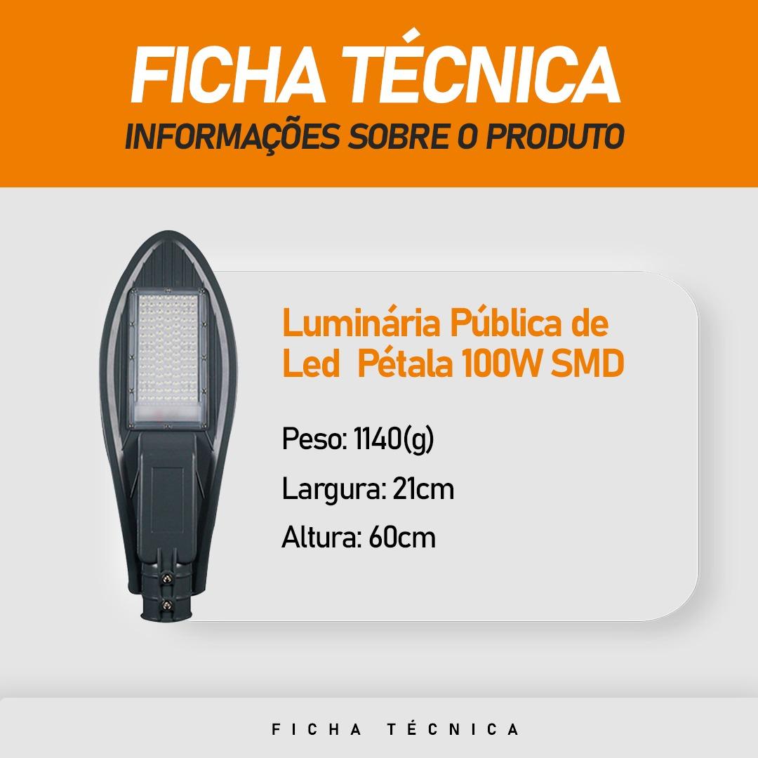 Luminária Pública Pétala SMD 100W para Poste de Rua Branco Frio 6500k
