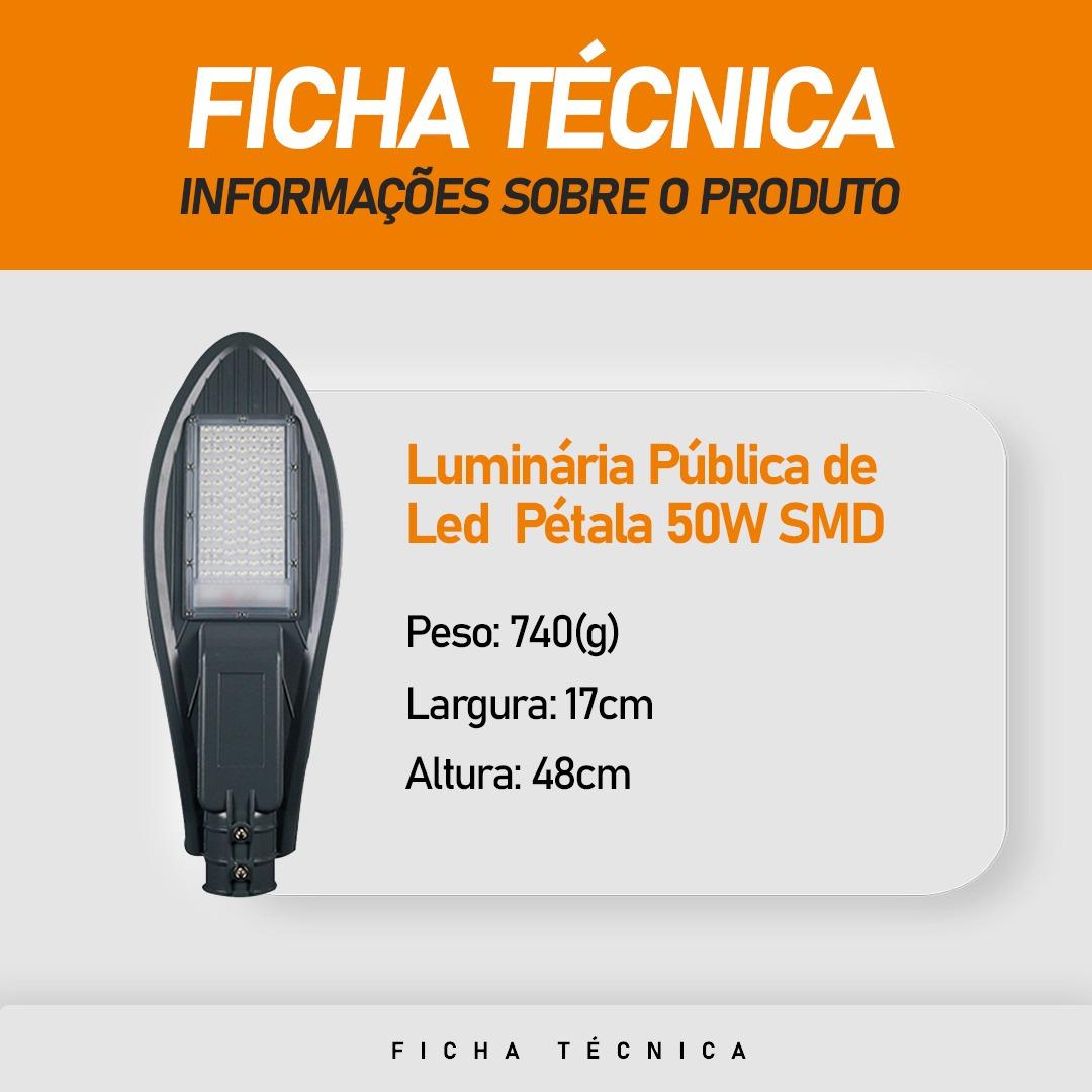 Luminária Pública Pétala SMD 50W para Poste de Rua Branco Frio 6500k