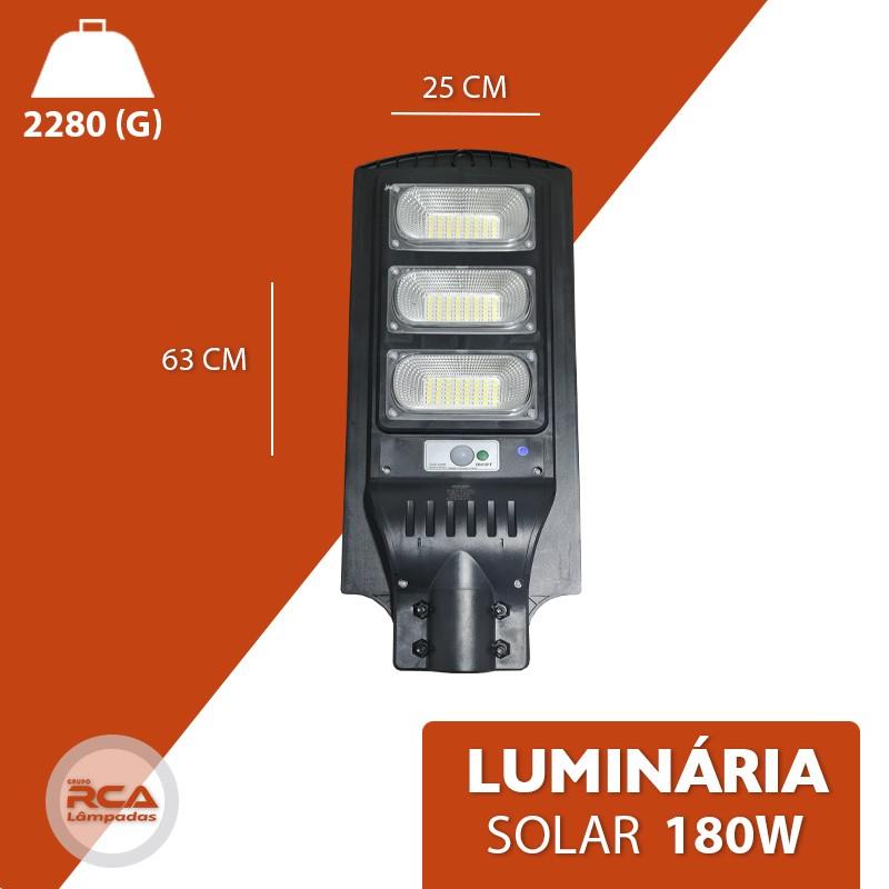 Luminária Publica Poste Energia Solar 180w Sensor Controle