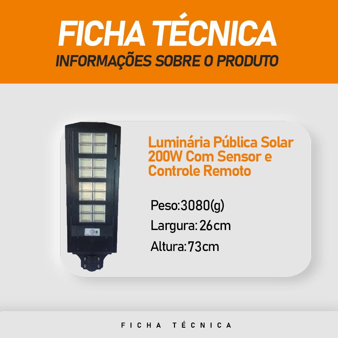 Luminária Publica Poste Energia Solar 200W Sensor Controle