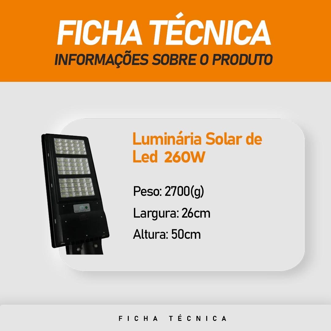 Luminária Pública Poste Solar 260W Sensor com Controle Remoto