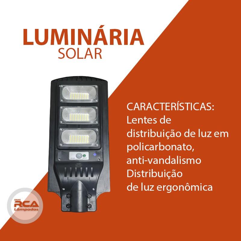 Luminária Publica Poste (GOLD) Energia Solar 180w Sensor Controle