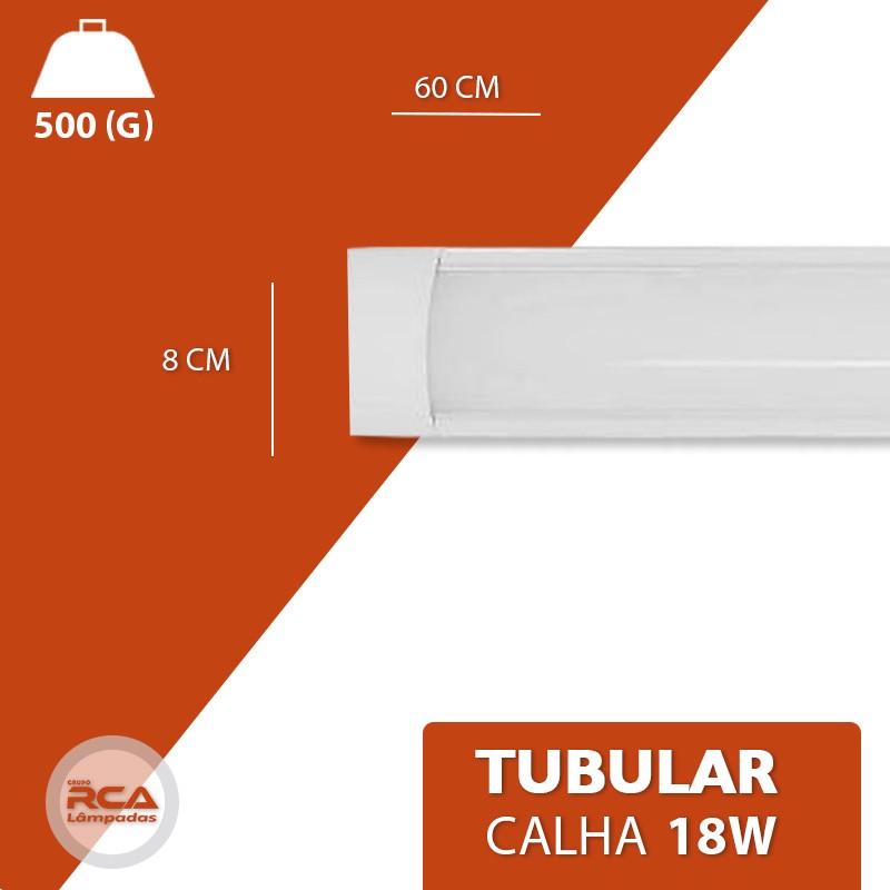 Luminária Led Sobrepor Slim Calha 18w branco frio 60cm Policarbonato
