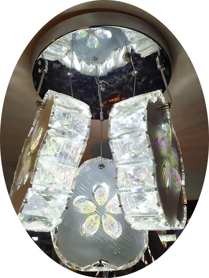 Lustre Cristal 3 esferas Pendente Diamante 8094