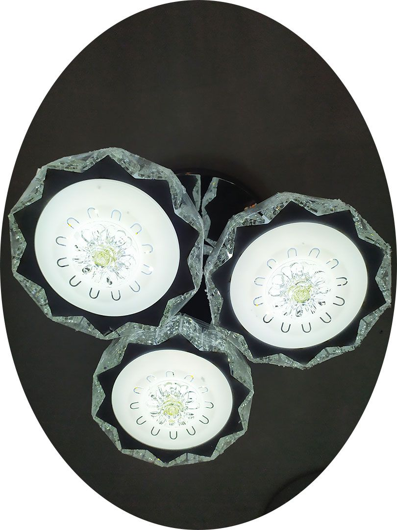 Lustre led Candelabro Cristal 3 esferas Pendente Diamante 8066