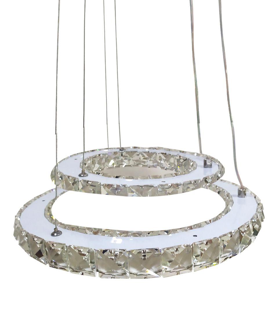 Lustre Led 80w Pendente cristal acrílico bivolt Seven 8033