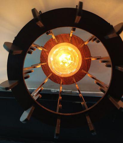 Lustre Luminária Pendente De Madeira C/ Soquete E-27