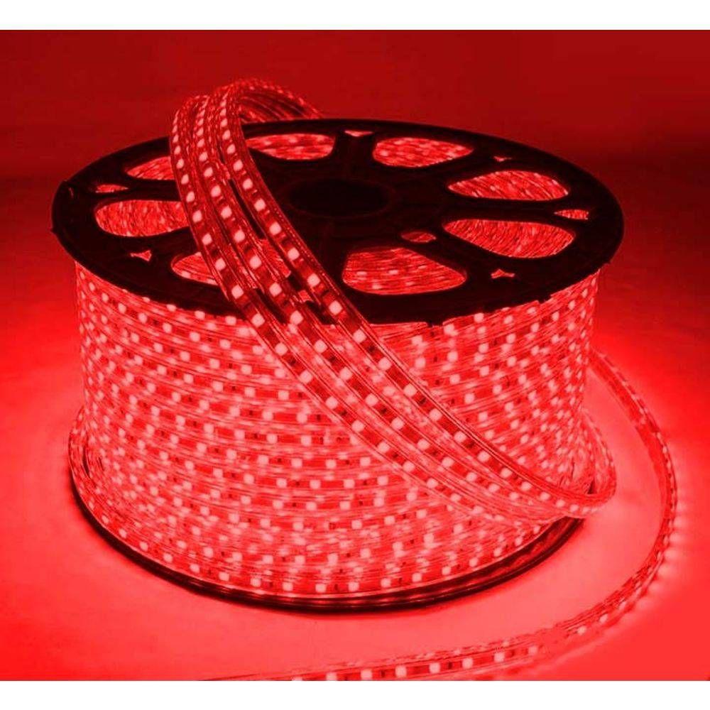 Mangueira Chata 140w / Bi-Volt Ultra Intensidade A prova d'água LED Vermelha Rolo 100m