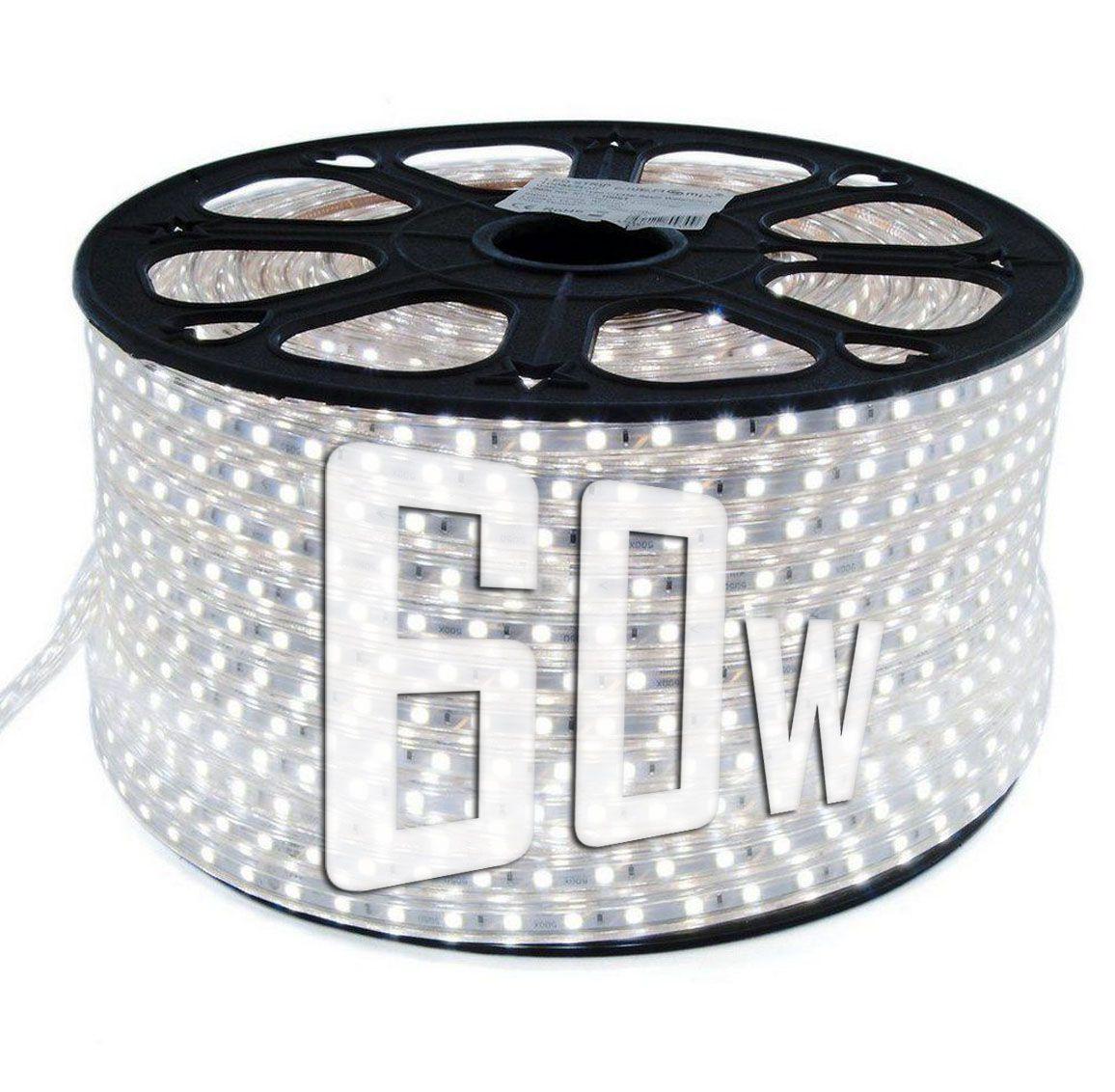 Mangueira Chata 60w / Bi-Volt Ultra Intensidade A prova d'água LED Branco Frio Rolo 100m