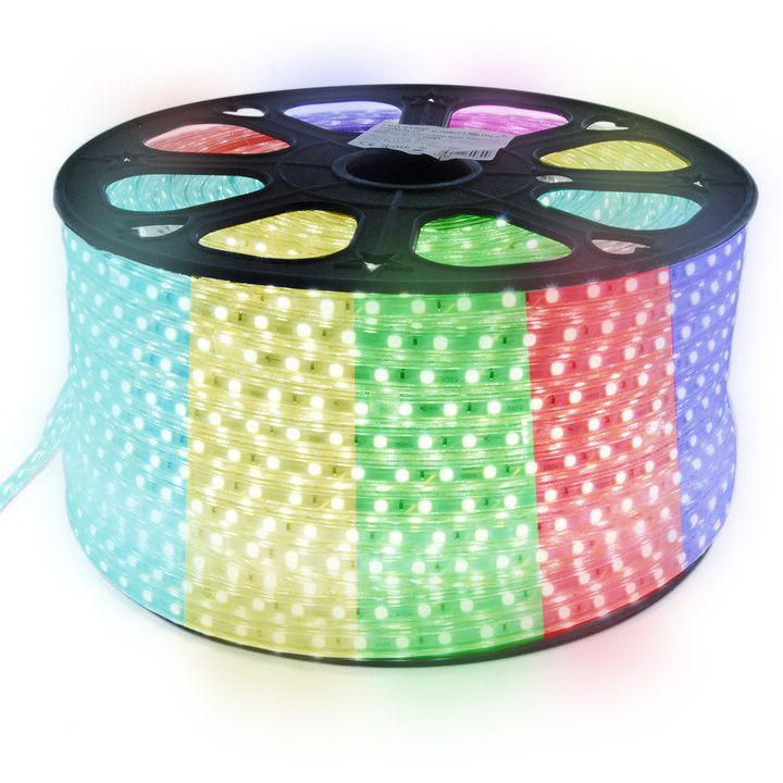 Mangueira de Led 100w Bivolt Chata 5050 Luz RGB colorida Rolo com 100m