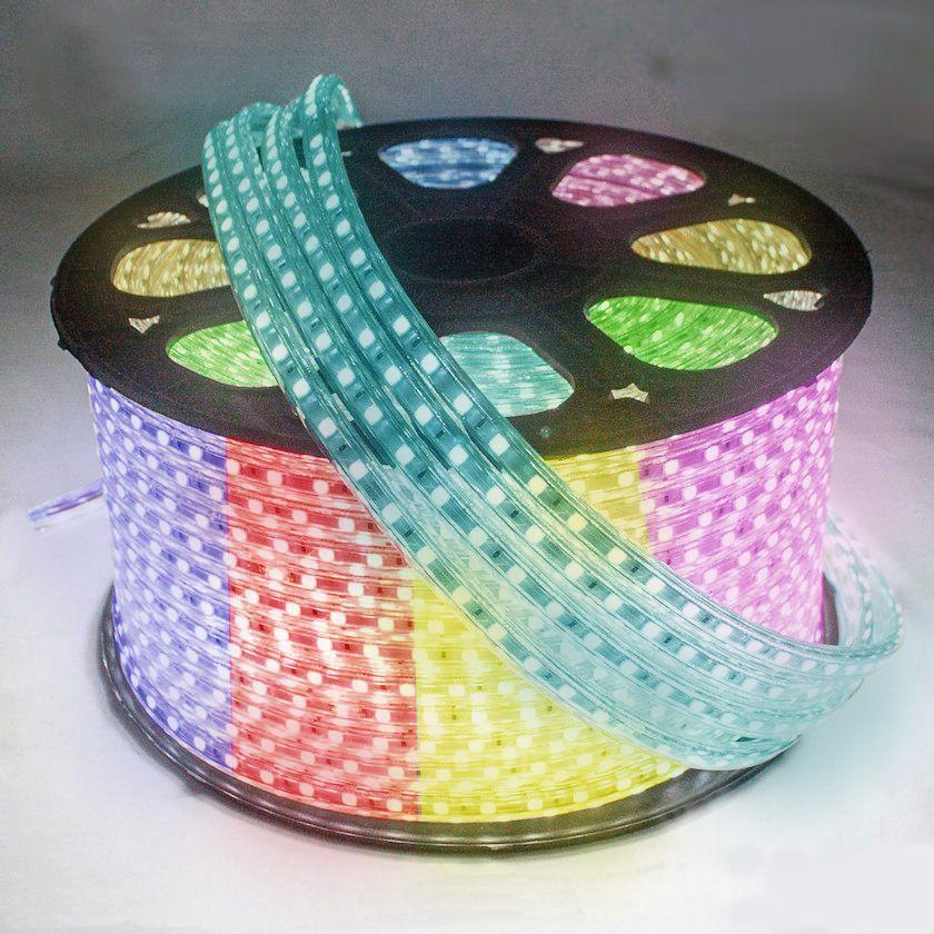 Mangueira de Led 120w Bivolt Chata 5050 Luz RGB colorida Rolo com 100m