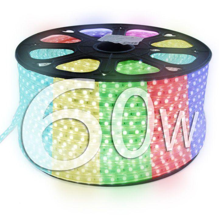 Mangueira de Led 60w Bivolt Chata 5050 Luz RGB colorida Rolo com 100m