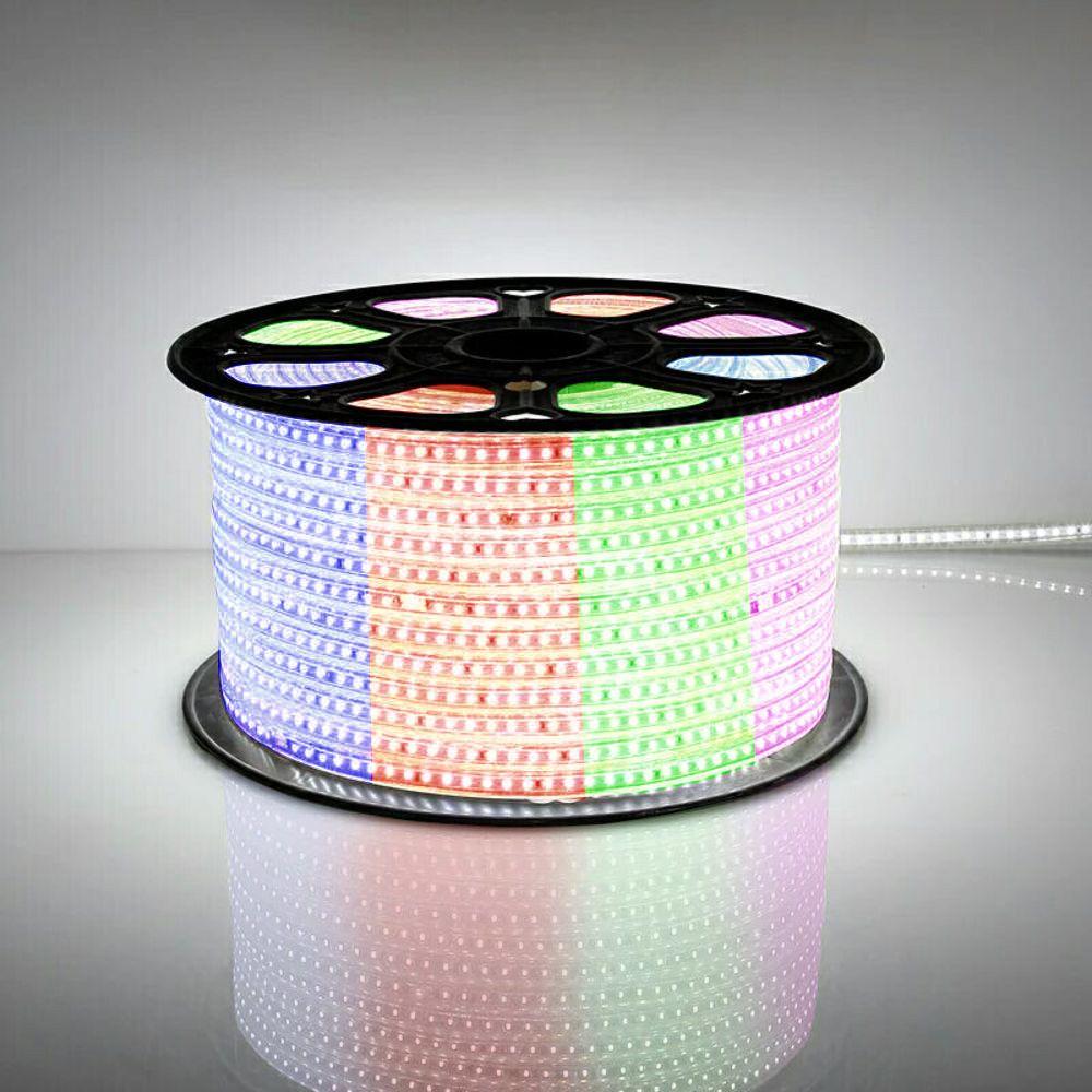 Mangueira de Led 80w Bivolt Chata 5050 Luz RGB colorida Rolo com 100m