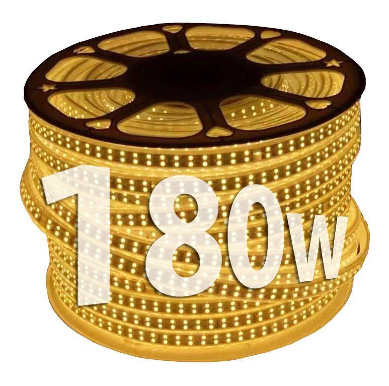 Mangueira de Led dupla 180w chata 100m branca quente 110v Ultra Intensidade a prova d'água