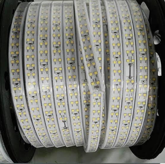 Mangueira de Led dupla 160w chata 100m branca quente 110v Ultra Intensidade a prova d'água