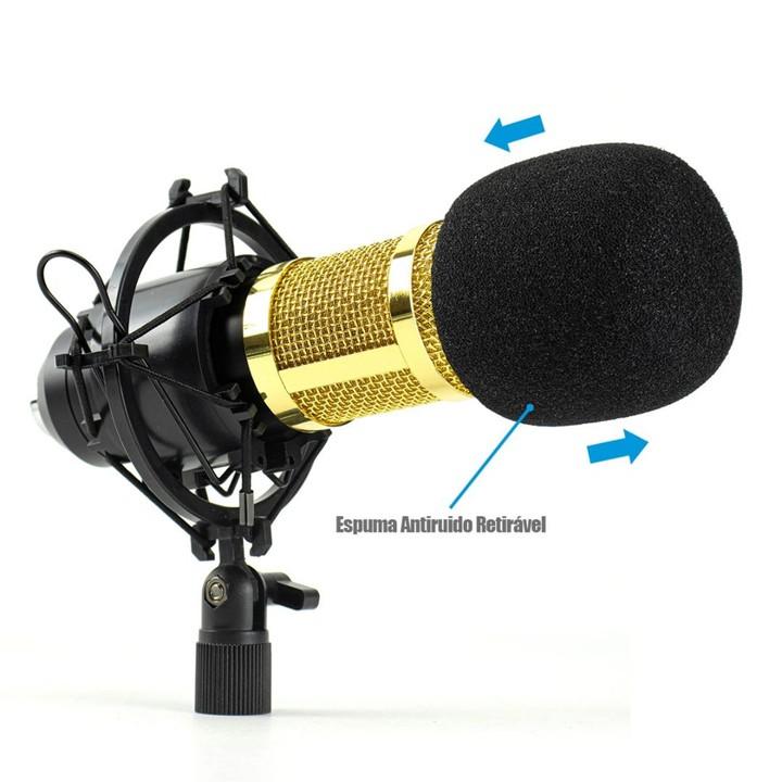 Microfone Condensador Profissional Estúdio P2 B-Max BM-800