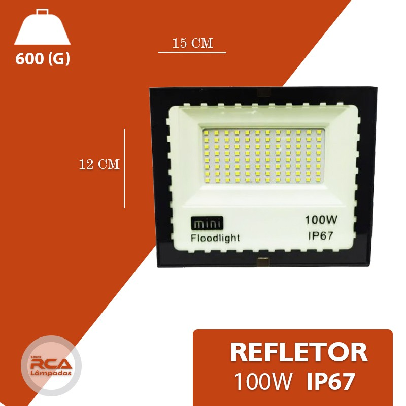 Mini Refletor Holofote Advanced  LED SMD 100w Branco Frio IP67