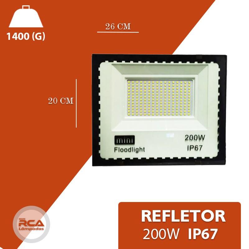 Mini Refletor Holofote Advanced  LED SMD 200w Branco Frio IP67