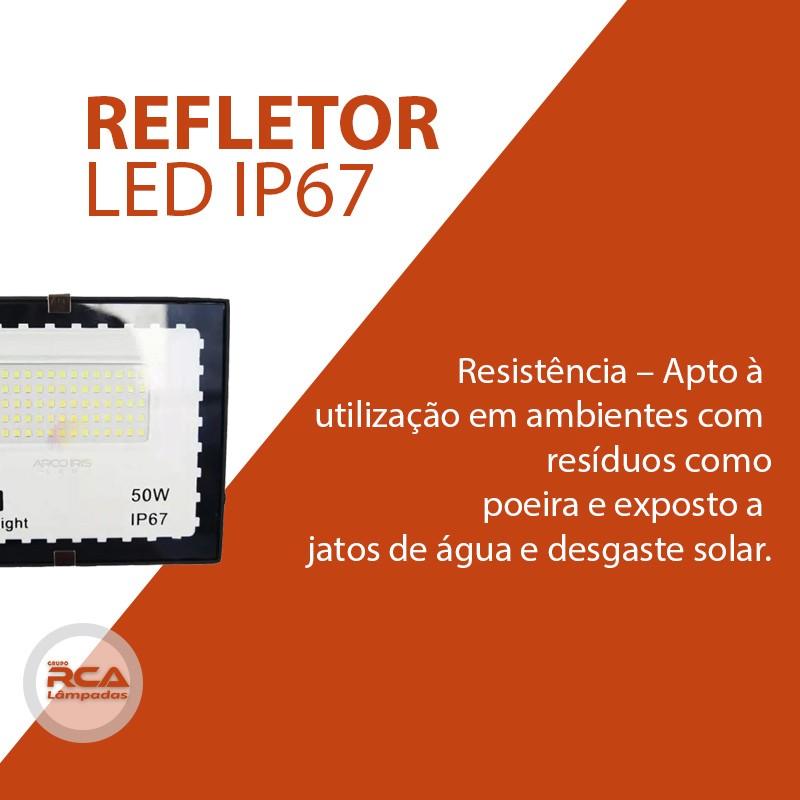 Mini Refletor Holofote Advanced  LED SMD 50w Branco Frio IP67