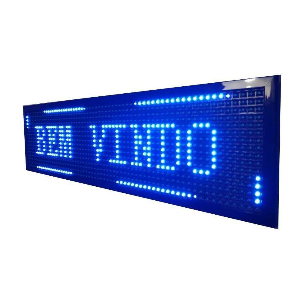 Painel De Led Letreiro Digital Indoor Azul 100x20