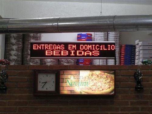 Painel De Led Letreiro Digital Indoor Vermelho 100x20