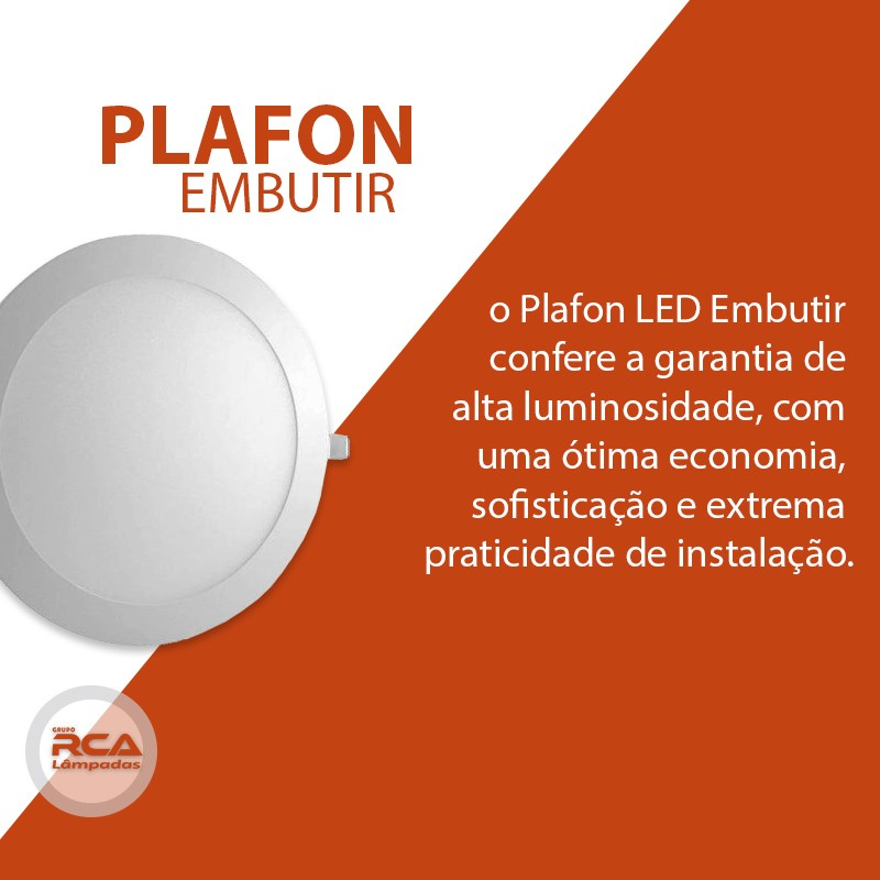 Plafon Led de Embutir Redondo 25w / 24w Branco Frio 6000K Tecnologia Siemens