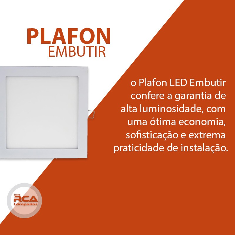 Plafon Led Embutir Quadrado 6w 12x12cm Bivolt Tecnologia Siemens