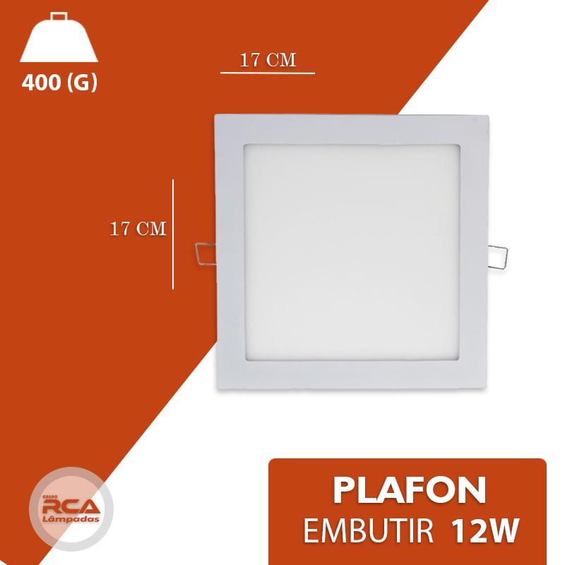 Plafon LED Luminária Quadrado Embutir 12w 17x17 Branco Frio 6000k Tecnologia Siemens