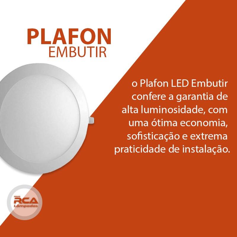 Plafon LED Luminária Redondo Embutir 12w Branco Frio 6000k Tecnologia Siemens