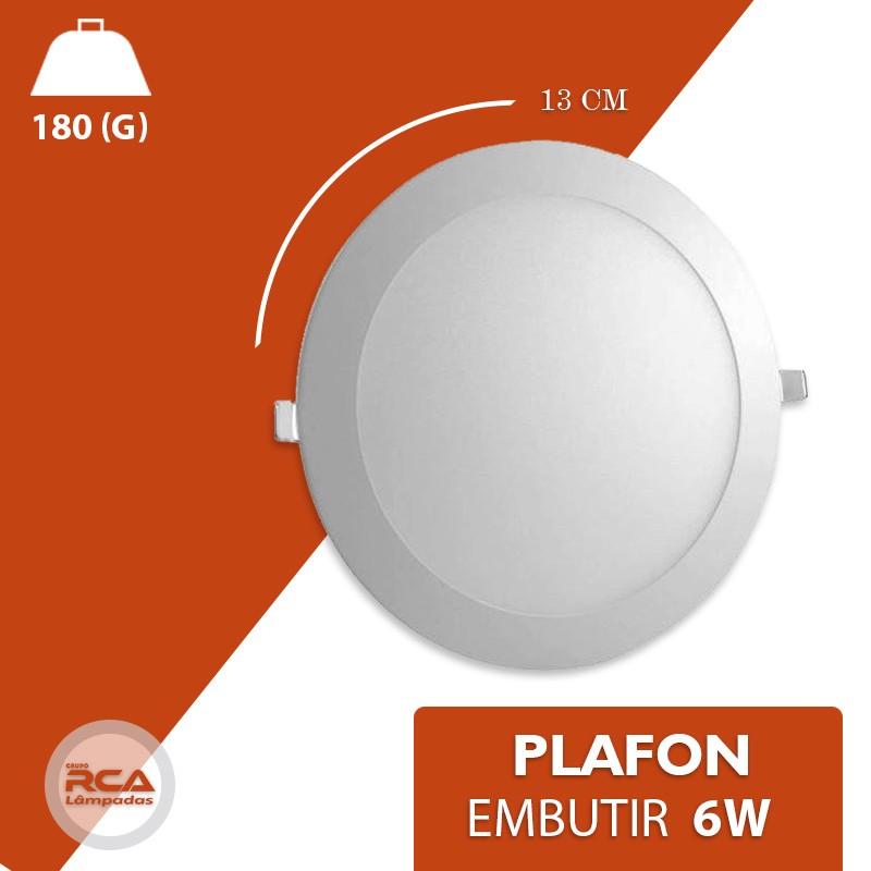 Plafon LED Luminária Redondo Embutir 6w Branco Frio 6000k Tecnologia Siemens