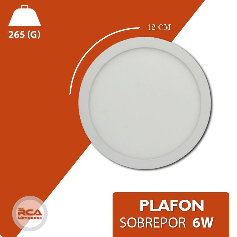 Plafon LED Luminária Redondo Sobrepor 6w Branco Frio 6000k Tecnologia Siemens